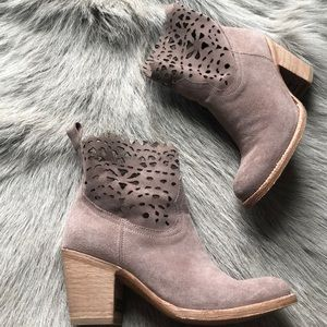 New Frye Taupe Laser Cut Booties 6